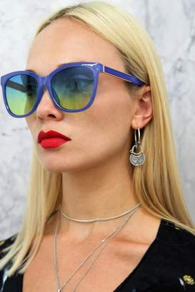 Girls On Film Outlet Cara Square Sunglasses In Blue