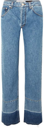 Loewe Paula's Ibiza Twill-paneled Mid-rise Straight-leg Jeans - Indigo