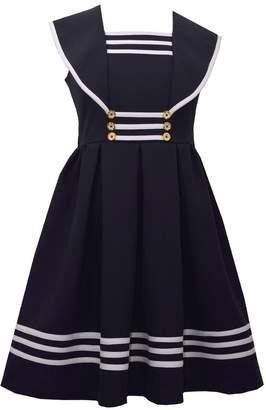 Bonnie Jean Girl's Sailor Collar Gold Button Nautical Dress