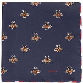 Gucci Bee Print Silk Pocket Square - Mens - Navy