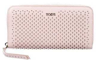 Tod's Studded Leather Zip Continental Wallet