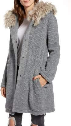 BB Dakota Girls in the Hood Faux Fur Trim Ribbed Coat