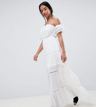 Parisian Petite Off Shoulder Crochet Maxi Dress