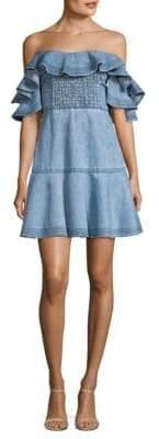 Tanya Taylor Chambray Off-The-Shoulder Mini Dress
