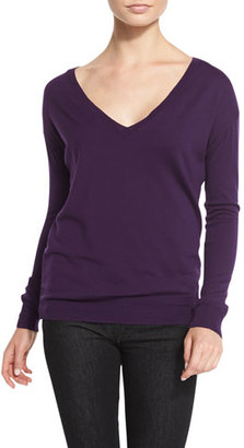 Ralph Lauren Easy Merino V-Neck Sweater, Plum $550 thestylecure.com