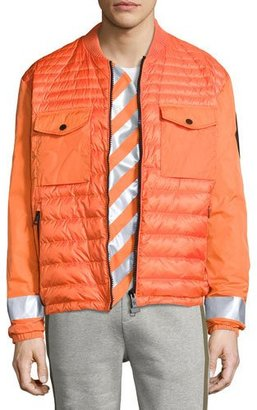 Moncler Arrow-Print Down Bomber Jacket, Orange $1,160 thestylecure.com