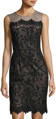 Julia Jordan Floral Mesh-Yoke Sheath Dress, Black $129 thestylecure.com