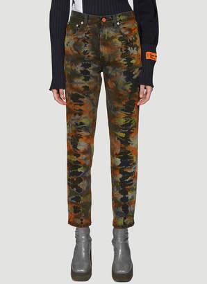Heron Preston Tie-Dye Tapered Jeans in Grey