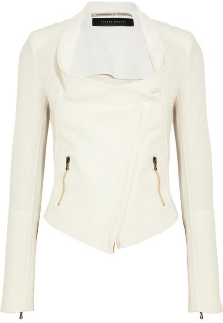 Roland Mouret Mensa stretch crepe-paneled basketweave cotton jacket