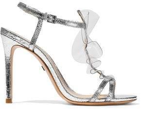 Schutz Zaryah Pvc-Trimmed Metallic Cracked-Leather Sandals