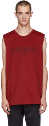 Balmain Red Logo Muscle T-Shirt