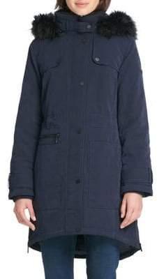 DKNY THE COAT EDIT Removable Hood Zip-Up Anorak