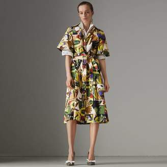 Burberry Graffitied Archive Scarf Print Shirt Dress , Size: 10, Yellow