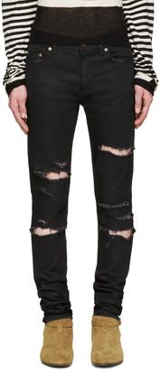 Saint Laurent Black Original Low Waisted Destroyed Skinny Jeans $890 thestylecure.com