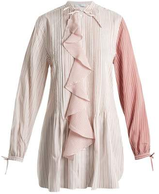 J.W.Anderson Ruffled Front Striped Silk Charmeuse Tunic Top - Womens - Pink Multi