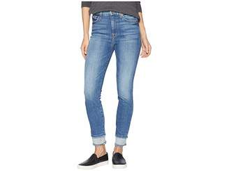 7 For All Mankind High-Waisted Ankle Skinny w/ Reverse Double Fray Hem in Pretty District Row