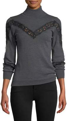 Milly Turtleneck Lace-Inset Long-Sleeve Wool Pullover Sweater