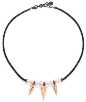 Majorica 6MM-8MM White Round Pearl Spike Necklace