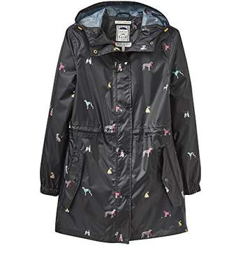 Joules Women's Golightly Waterproof Dog Print Packable Rain Jacket with Hood
