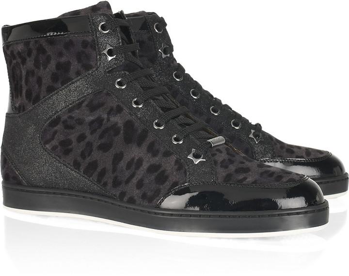 Jimmy Choo Tokyo leopard-print suede high-top sneakers