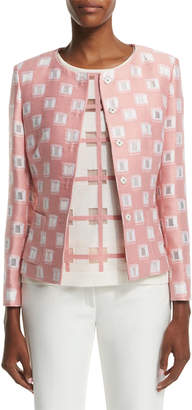 Escada Long-Sleeve Snap-Front Jacket, Rosehip