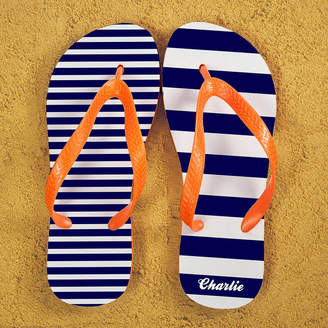cca4313c117f1 The Letteroom Striped Personalised Flip Flops