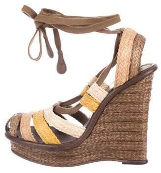 Bottega Veneta Straw Wedge Sandals