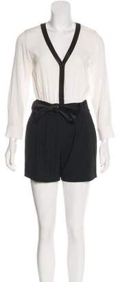 Alice + Olivia Leather-Accented Romper