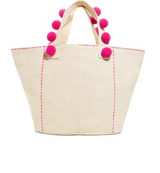 Myka Pom Pom Tote Bag $54 thestylecure.com