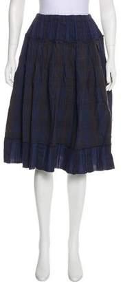 Hache Plaid Knee-Length Skirt