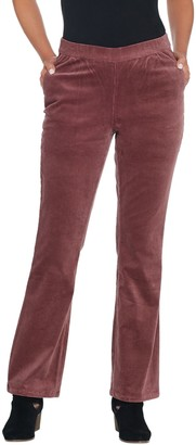 Denim & Co. Petite Stretch Corduroy Pull- On Lightly Bootcut Pants