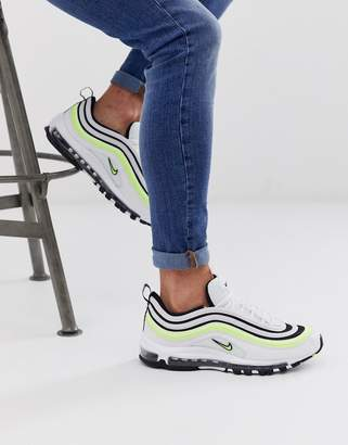 Nike 97 sneakers in white with black and neon stripe