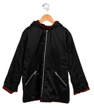Sonia Rykiel Girls' Hooded Reversible Coat black Girls' Hooded Reversible Coat