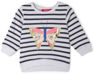 Sprout NEW Girls Essential Crew Neck Sweat - Butterfly/Stripe White