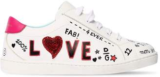Dolce & Gabbana Love Graffiti Printed Leather Sneakers