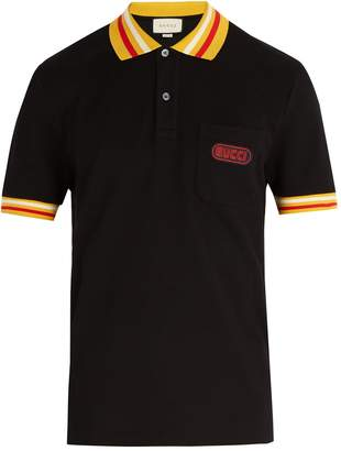 Gucci Striped-collar cotton blend polo shirt