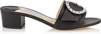 Jimmy Choo GRANGER 35 Black Nappa Leather Mules with Crystal Buckle