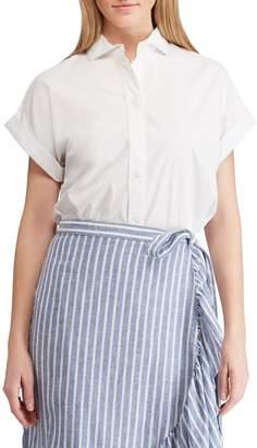 Chaps Petite Straight-Fit Poplin Button-Down Shirt