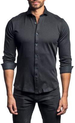 Jared Lang Slim Fit Button-Up Knit Sport Shirt
