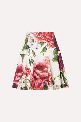 Dolce & Gabbana Floral-print Cotton-blend Jacquard Mini Skirt - Pink