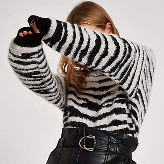 River Island Black zebra print slash neck sweater