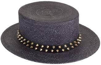 Philip Treacy Studded Straw Boater Hat