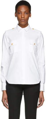 Pierre Balmain White Military Shirt