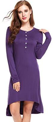 Ekouaer Lounge Sleep Night Dress (Purple,)