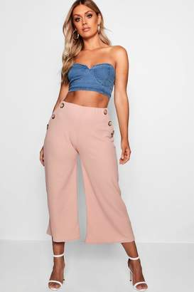 boohoo Plus Horn Button Front Culottes