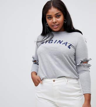 Koko slogan t-shirt with cut out elbows