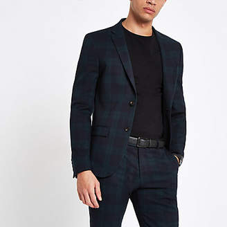 River Island Green check super skinny fit suit jacket