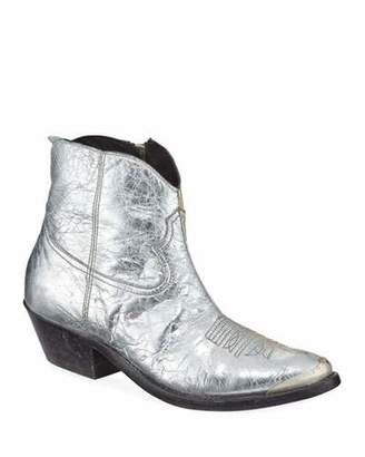 Golden Goose Young Metallic Crackled Western Booties