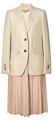 Burberry Women's Wool& Silk-Blend Blazer with Pleated Skirt