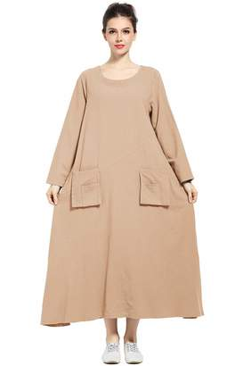 cd05c13d94050 Anysize Spring Summer Dress Linen Cotton Front Pockets Plus Size Dress F132A